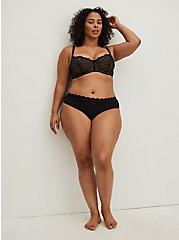 Black Lace Unlined Balconette Bra, RICH BLACK, alternate