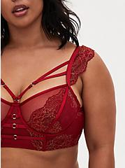 Red Lace Harness Longline Underwire Bralette , BIKING RED, alternate