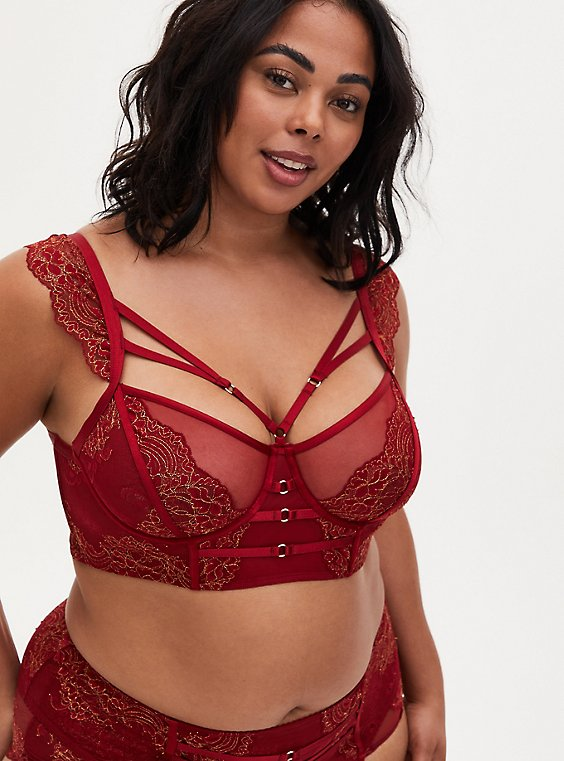 Red Lace Harness Longline Underwire Bralette , , hi-res
