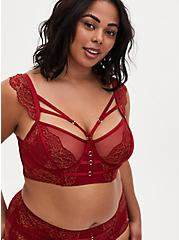 Red Lace Harness Longline Underwire Bralette , BIKING RED, hi-res