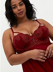 Dark Red Mesh & Lace Underwire Babydoll, BIKING RED, alternate