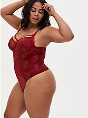 Red Mesh & Lace Harness Thong Bodysuit, BIKING RED, alternate