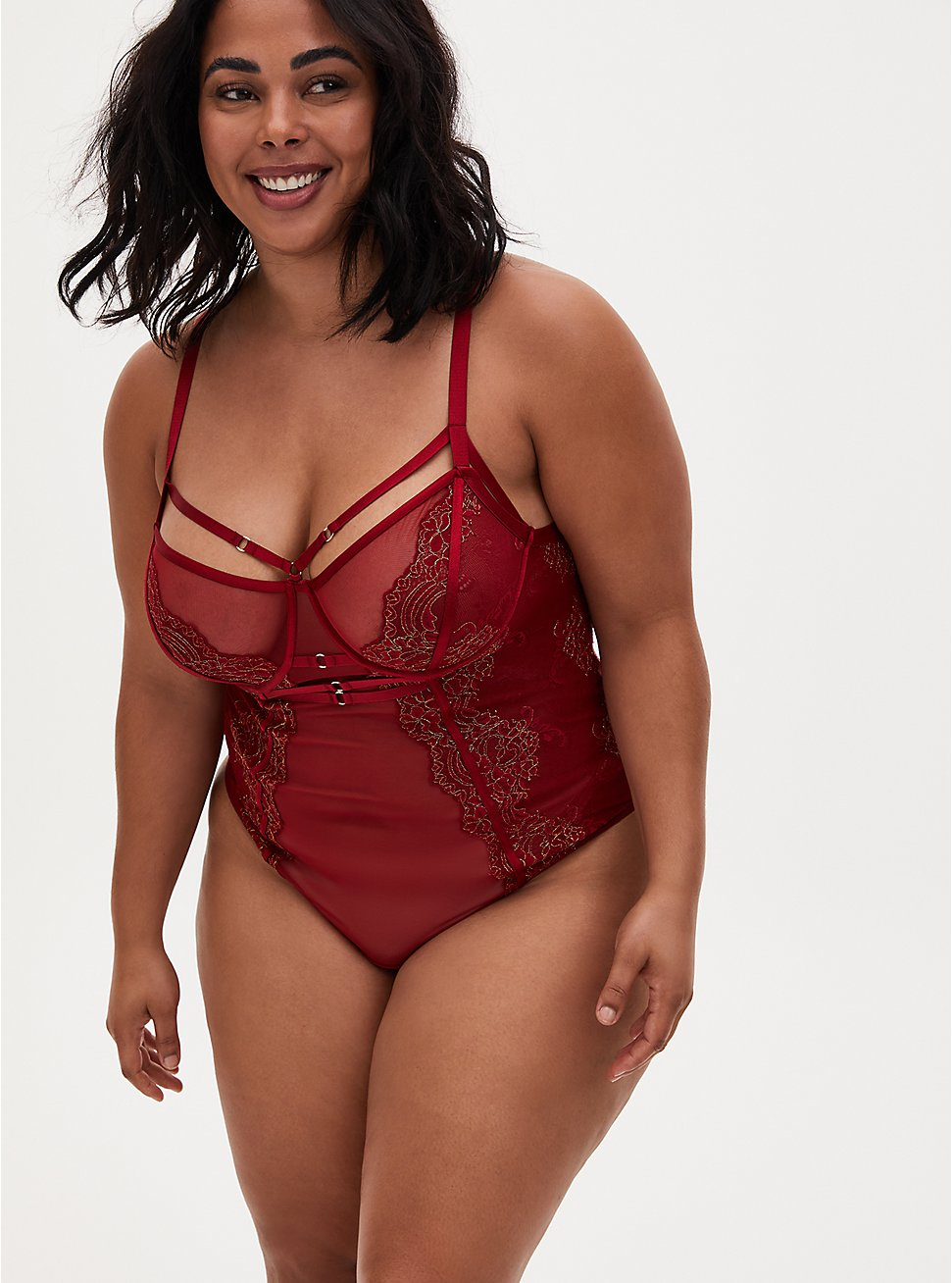 Red Mesh & Lace Harness Thong Bodysuit, BIKING RED, hi-res