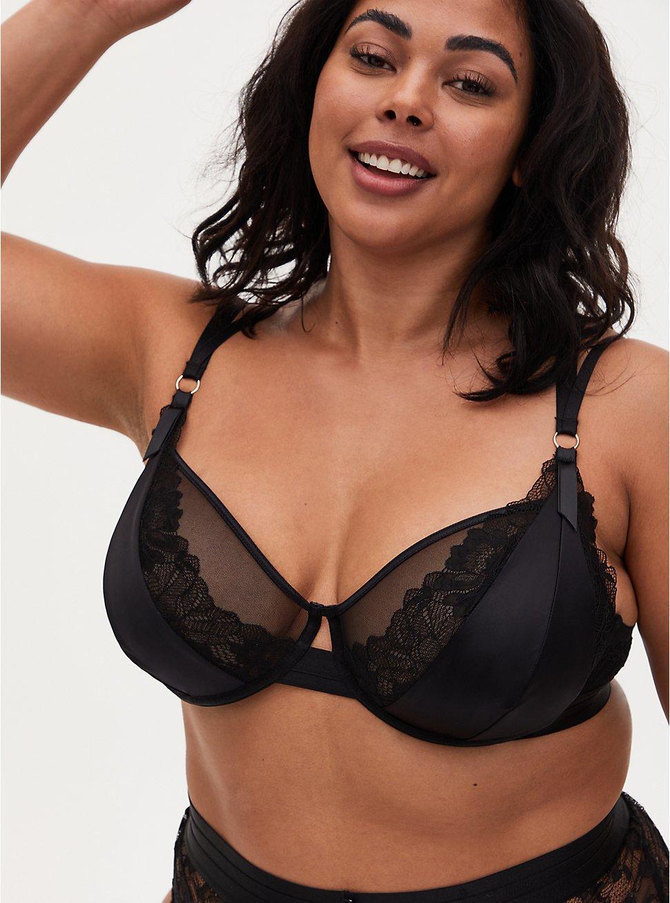 Black Satin & Lace Strappy Underwire Bralette, , hi-res