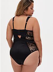 Black Satin & Lace Underwire Cheeky Bodysuit, RICH BLACK, alternate