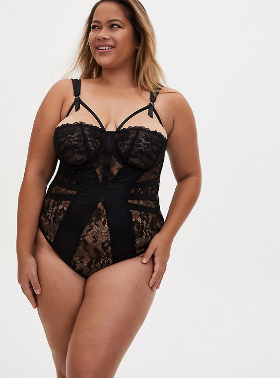 Black Satin & Lace Underwire Cheeky Bodysuit, , hi-res