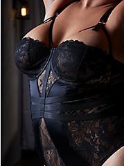 Black Satin & Lace Underwire Cheeky Bodysuit, RICH BLACK, hi-res