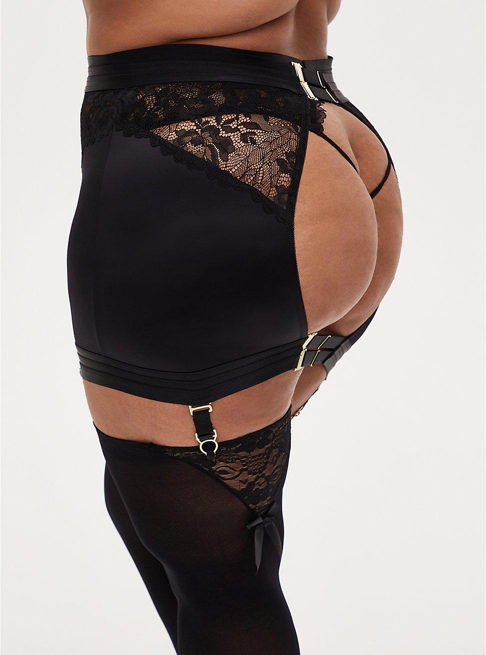 Black Satin & Lace Garter Skirt, RICH BLACK, hi-res