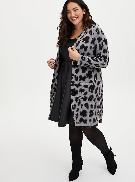Disney Minnie Mouse Grey Leopard Longline Cardigan , , hi-res
