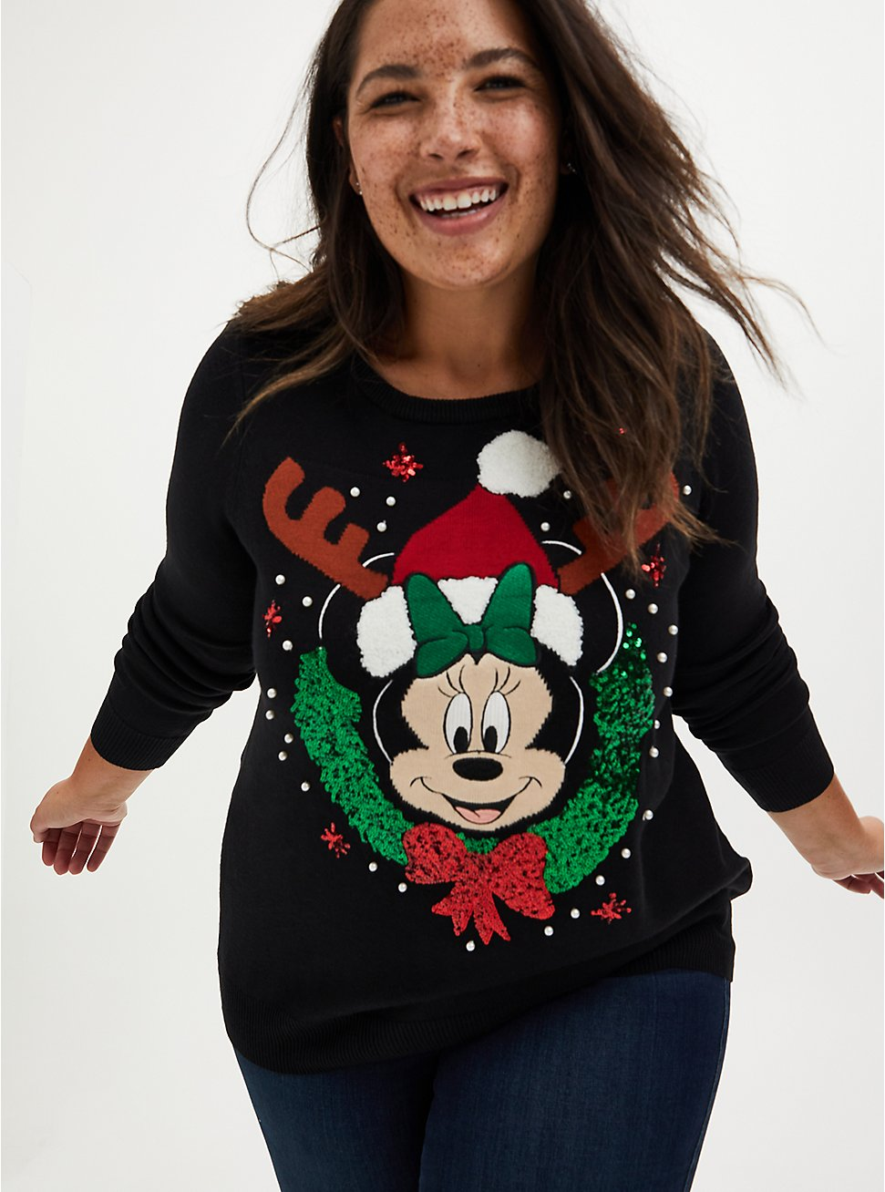 Disney Minnie Mouse Holiday Glam Embellished Pullover Sweater  , MULTI, hi-res