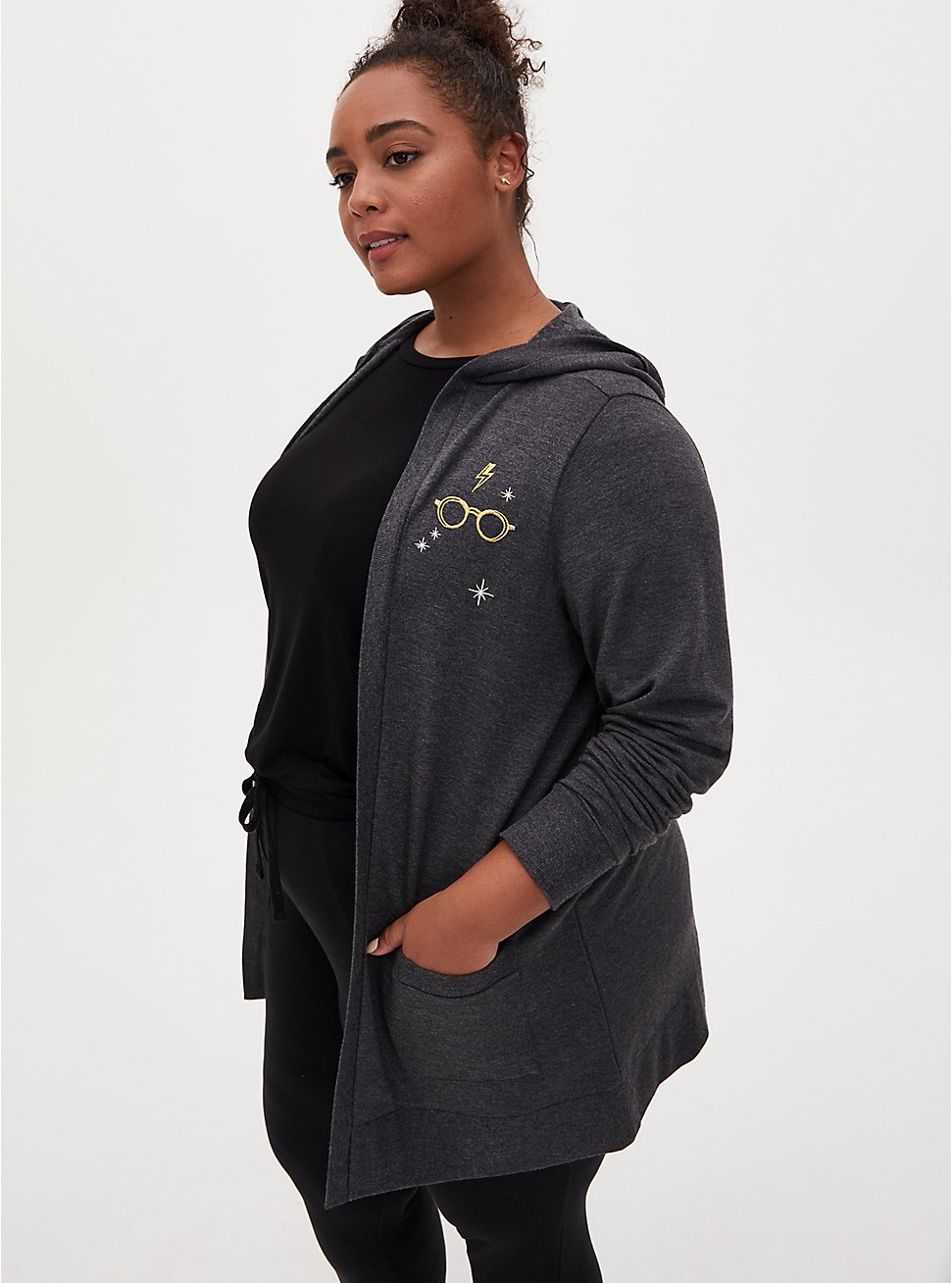 Harry Potter Glasses Embroidered Charcoal Fleece Hooded Cardigan, MULTI, hi-res