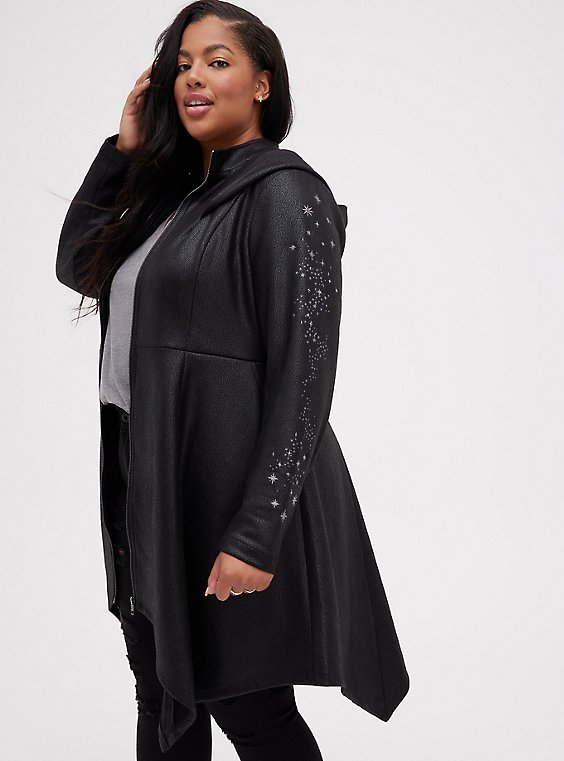 Harry Potter Deathly Hallows Black Faux Suede Embroidered Coat , BLACK, hi-res
