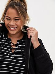 Plus Size Disney Mickey Mouse Quilted Zip Front Jacket, BLACK, alternate