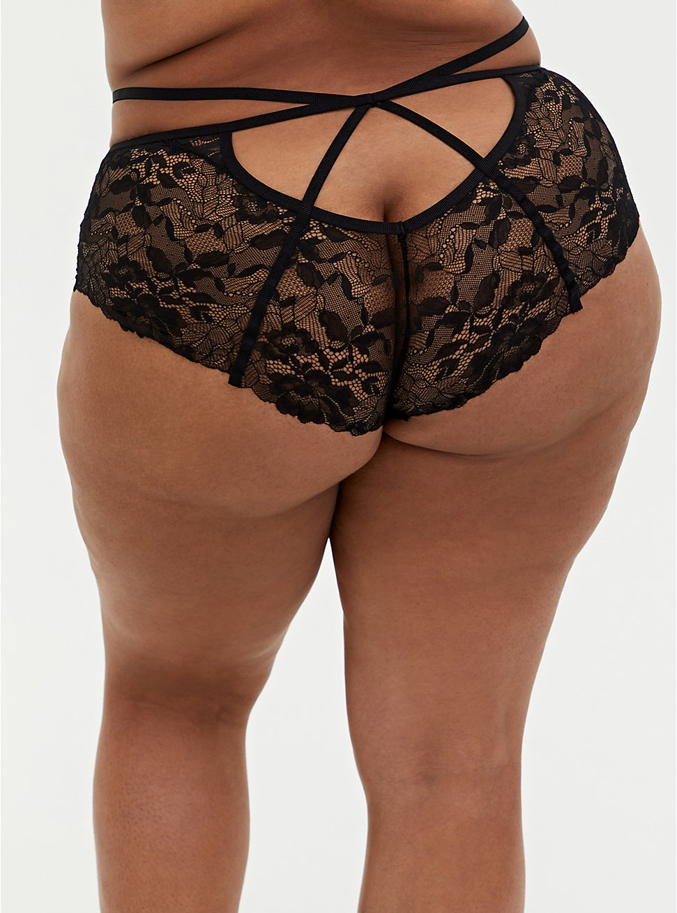 Black Strappy Chantilly Lace Open Back Cheeky Panty, RICH BLACK, hi-res