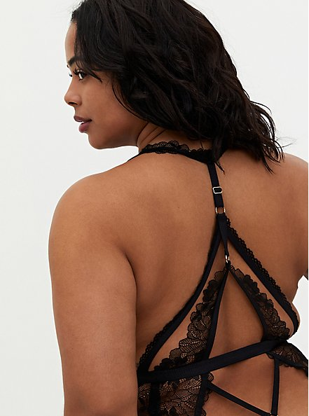 Black Chantilly Lace Strappy Halter Bodysuit, RICH BLACK, alternate