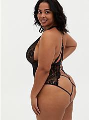 Black Chantilly Lace Strappy Halter Bodysuit, RICH BLACK, alternate