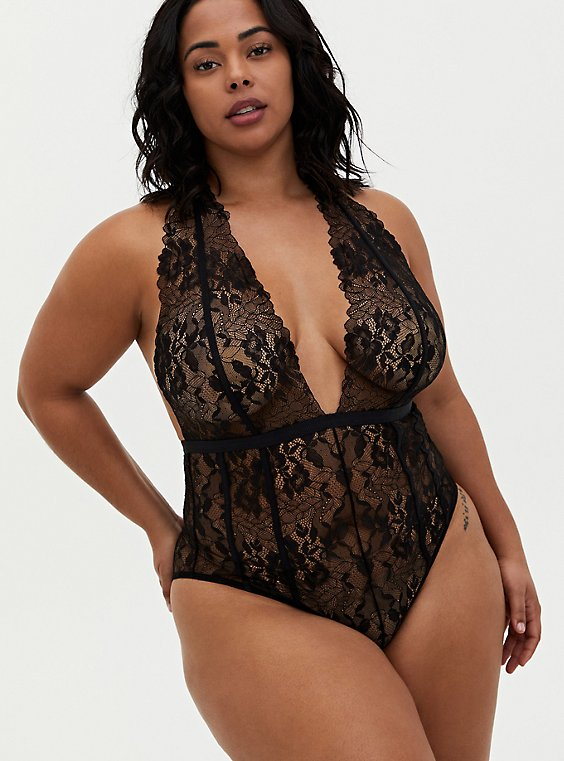 Black Chantilly Lace Strappy Halter Bodysuit, RICH BLACK, hi-res