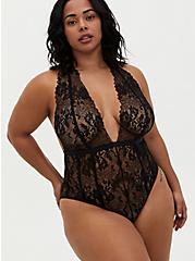 Black Chantilly Lace Strappy Halter Bodysuit, RICH BLACK, hi-res