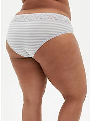 Light Grey & White Stripe Second Skin Hipster Panty, GREY STRIPE, alternate
