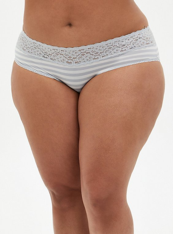 Light Grey & White Stripe Second Skin Hipster Panty, GREY STRIPE, hi-res