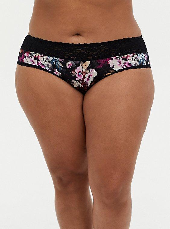 Black Floral Second Skin Hipster Panty, , hi-res