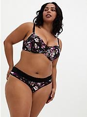 Black Floral Second Skin Thong Panty, REGAL FLORAL, alternate