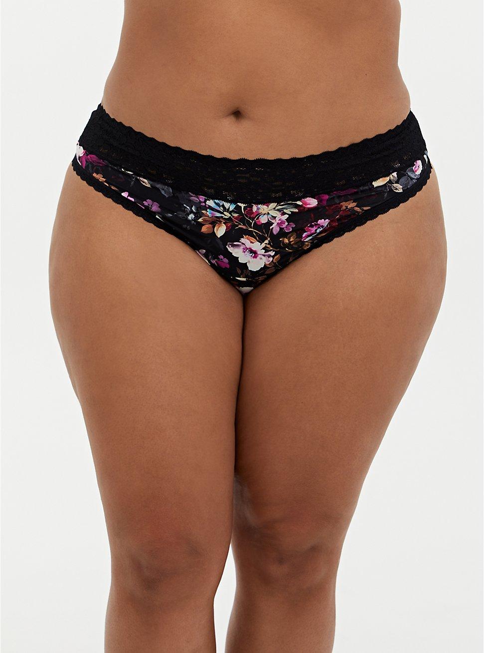 Black Floral Second Skin Thong Panty, REGAL FLORAL, hi-res