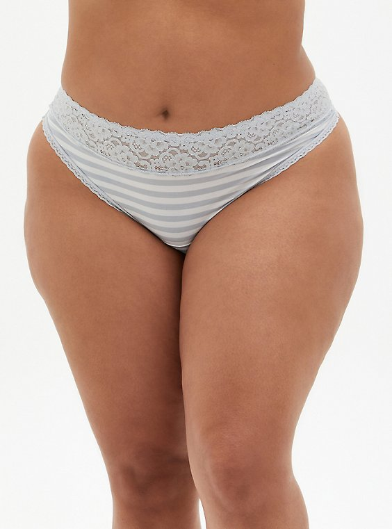 Light Grey & White Stripe Second Skin Thong Panty, GREY STRIPE, hi-res