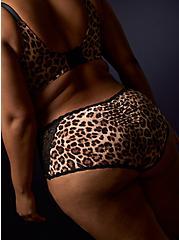 Leopard Microfiber & Black Lace Cheeky Panty , LEOPARD, alternate