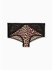 Leopard Microfiber & Black Lace Cheeky Panty , LEOPARD, hi-res