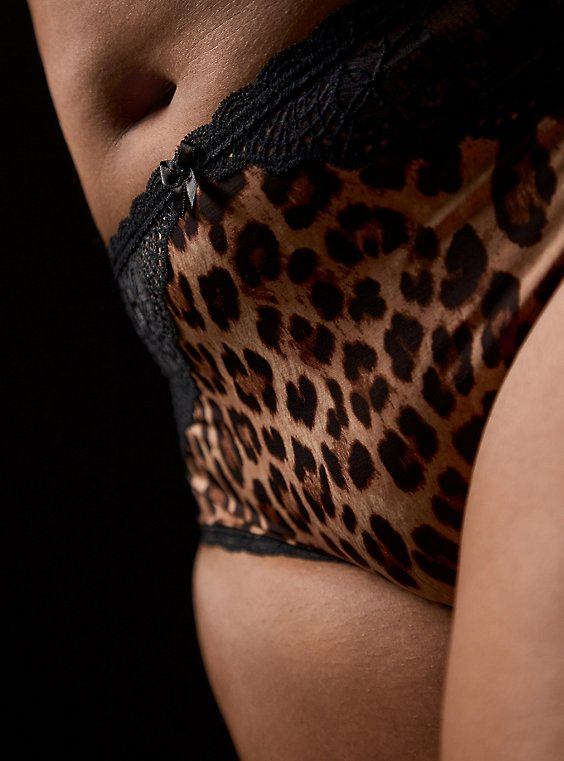 Leopard Microfiber & Black Lace Cheeky Panty , , hi-res