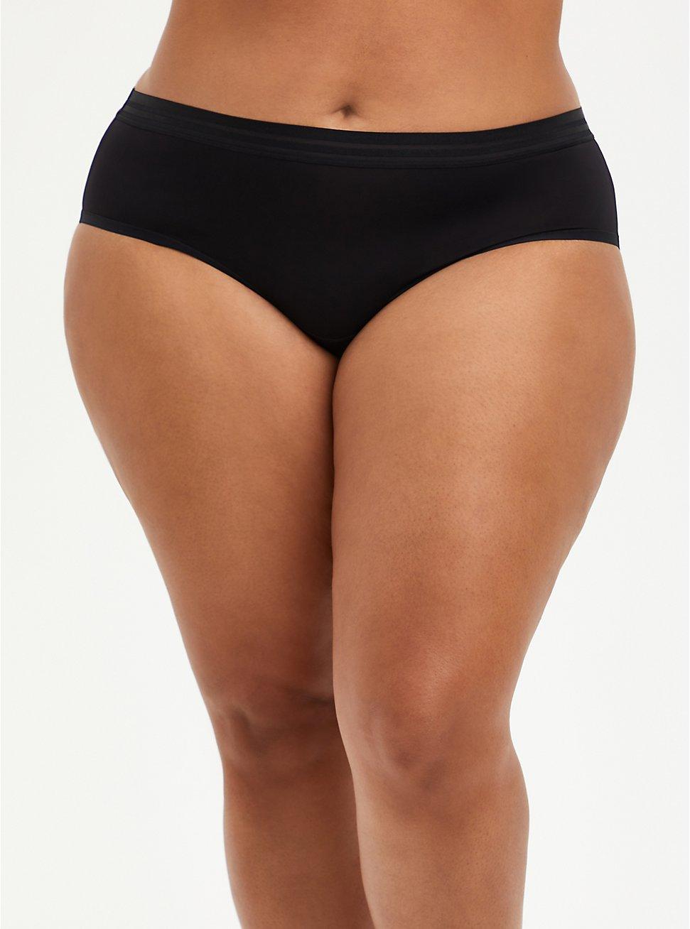 Black Second Skin Hipster Panty , RICH BLACK, hi-res