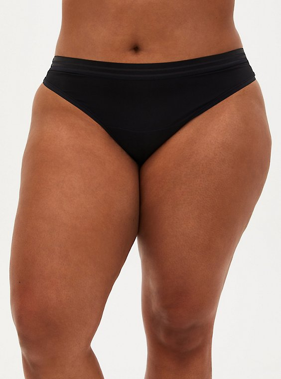 Black Second Skin Thong Panty , RICH BLACK, hi-res