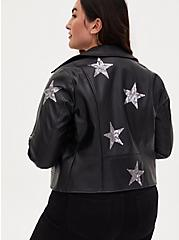 Black Sequin Stars Faux Leather Moto Jacket, DEEP BLACK, alternate