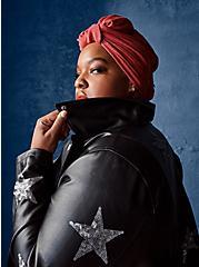 Black Sequin Stars Faux Leather Moto Jacket, DEEP BLACK, hi-res