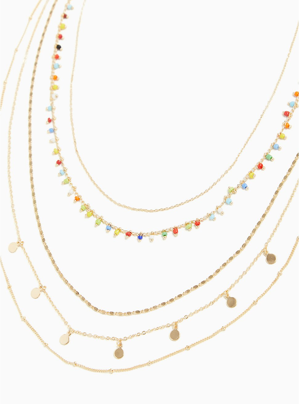 Gold-Tone & Multi Bead Layered Necklace , , hi-res