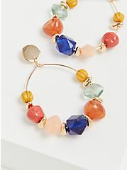 Gold Tone & Multi Faux Stone Hoop Earrings, , alternate