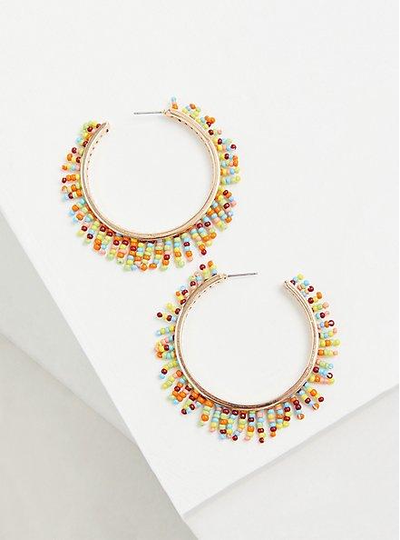 Gold Tone & Multi Bead Hoop Earrings, , alternate