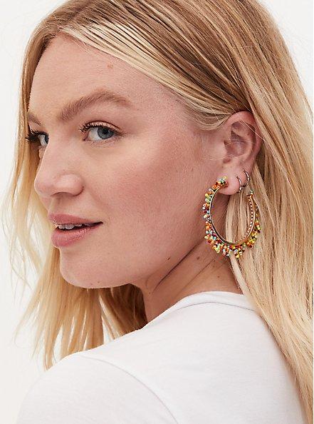 Gold Tone & Multi Bead Hoop Earrings, , hi-res