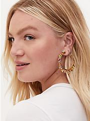 Plus Size Gold Tone & Multi Bead Hoop Earrings, , hi-res