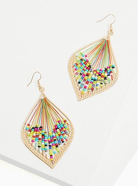 Gold-Tone & Multi Bead Threaded Teardrop Earrings, , alternate