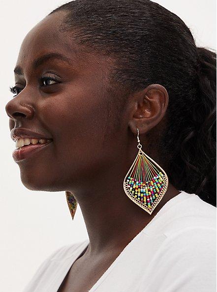 Gold-Tone & Multi Bead Threaded Teardrop Earrings, , hi-res