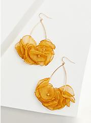 Mustard Yellow Floral Teardrop Earrings, , alternate