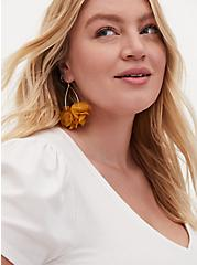 Mustard Yellow Floral Teardrop Earrings, , hi-res
