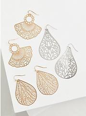 Plus Size Gold-Tone Filigree Fan Earrings Set - Set of 3, , alternate