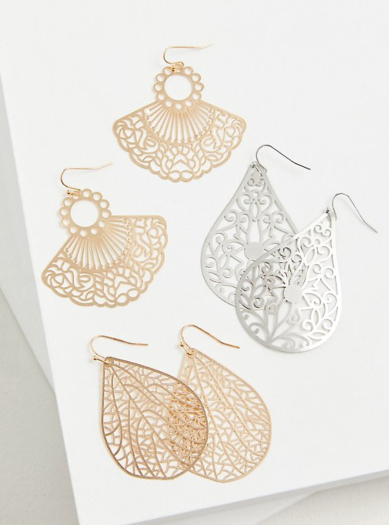 Gold-Tone Filigree Fan Earrings Set - Set of 3, , hi-res