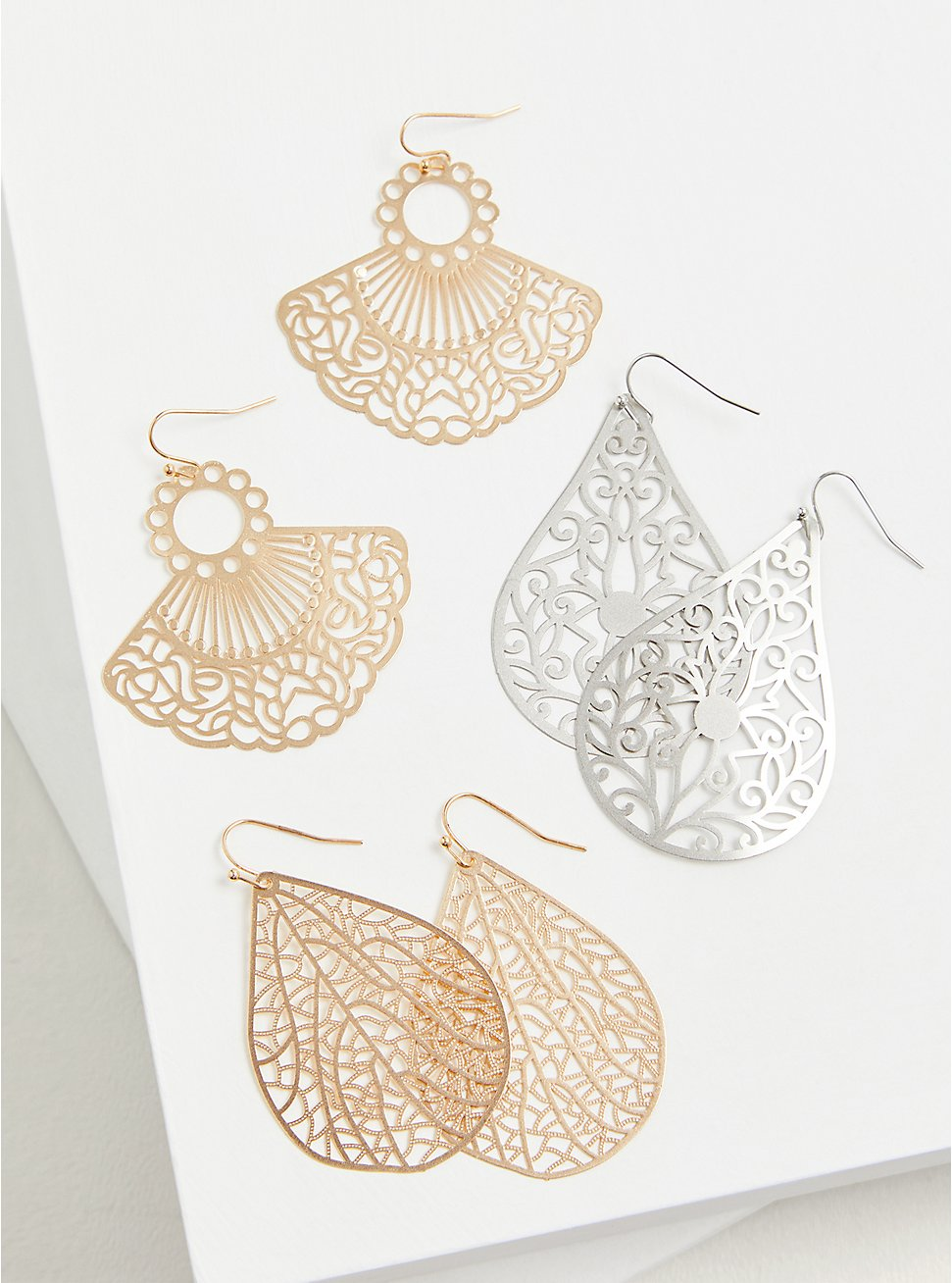 Plus Size Gold-Tone Filigree Fan Earrings Set - Set of 3, , hi-res