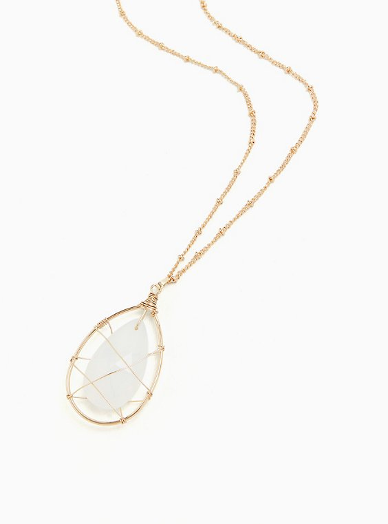 Gold-Tone Wire & White Faux Iris Stone Pendant Necklace , , hi-res