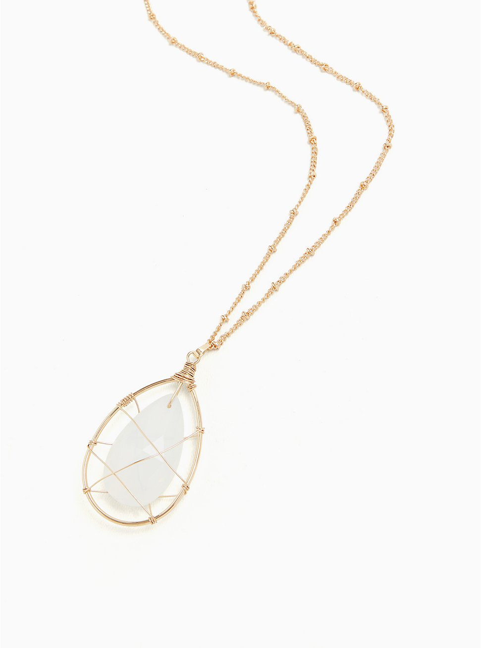 Gold-Tone Wire & White Faux Iris Stone Pendant Necklace , , hi-res