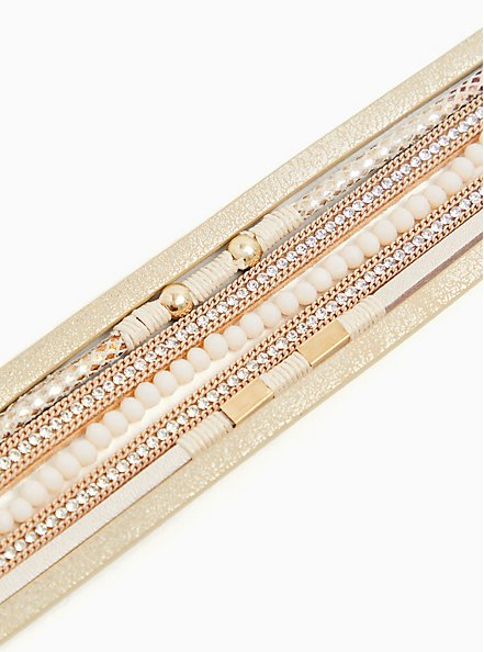 Gold-Tone Chain & Rhinestone Magnetic Bracelet, GOLD, alternate